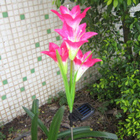 Wholesale LED Light Amazing Garden Yard Lawn Night View Lamp Solar Power Lily Flower New
