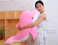 stuffed animal pillows - DHL Fedex giant stuffed plush dolphin toy CM CM CM CM children birthday toy doll color changing pillow valentine gift