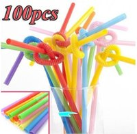 Wholesale 100pcs Multicolor Long Bendy Drinking Straws Home Bar Party Cocktail Drink Straw