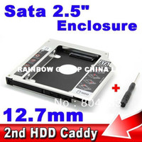 Wholesale Universal SSD HDD HD Hard Disk Driver External nd Caddy SATA Case Enclosure for mm CD DVD ROM Optical Bay for Notebook