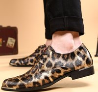 b unique - NEW Unique Men s shoes Men s Stree Fashion leopard print casual PU leather shoes wedding dress shoes S43