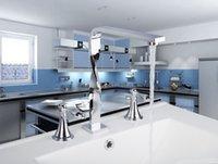 Wholesale 56H Construction Real Estate Deck Mounted Chrome Set Bathtub Shower Faucet Basin Mixer Tap