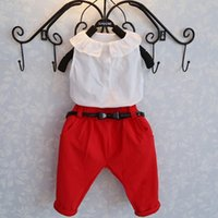 ruffle pants - Childrens Summer Clothing New Arrival Baby Girls Korean Style Fashion Set Ruffle Collar T shirt And Pants Pieces Set Kids Outfit