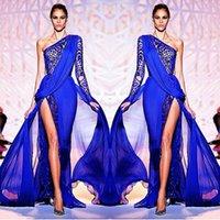 Wholesale Design Fashion Crystal Bead Sequins Royal Blue Long Sleeve Formal Evening Dresses One Shoulder Long Sleeve Elegant Prom Dress Zuhair Murad