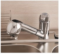 Wholesale Pull Out Chrome Single Lever Swivel Spout Kitchen Basin Sink Faucet Sink Tap Mix Hot and Cold Water