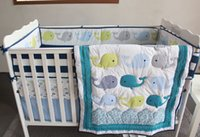 Wholesale Early education pieces baby bedding set Three dimensional embroidery Blue ocean whale bedskirt quilt bumper crib bedding set