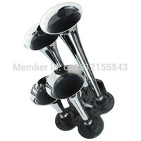 Wholesale 2014 New Stylish Trumpet Car Truck Auto Chrome Zinc Alloy Silver Train Air Horn Kit DB