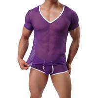 Cheap Men Underwear Sexy Series See-through Mesh T-shirt Vest and Underwear Mens Casual Sports Pullover Bathrobe