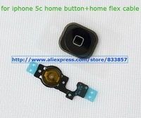 Wholesale 10pcs OEM For Apple iphone c Home Button Ribbon Flex Cable with key rubber flex cable holder complete black Original New