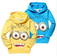 Wholesale 2016 Despicable Me Minions Children s Hoodies Colors Yellow Blue MYF072901 High Quality Kids Spring Fall Sweatshirts Coats