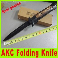 Cheap 2015 Excellent Ox horn handle ITALIAN AKC knife side open knife EDC pocke knife collecttion outdoor gear camping knives cutting tool 724X