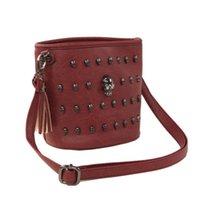 Cheap 2014 Fashion skull bucket Designer Leather Handbags High Quality Women messenger bag tassel Small Bags Free Shipping WZ70-398