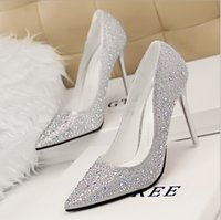 Wholesale 2015 Movie cinderella wedding shoes women shoes high heel Rhinestone Pointed Toe Stiletto pumps Crystal cosplay Shoes