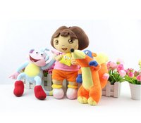 wholesale dora - 3pcs Dora the Explorer Dolls BOOTS FOX Stuffed Animals Monkey Toys children Baby Birthday gift