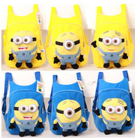 Wholesale 2015 Most Popular Despicable Me Minions School Bags Cartoon Movie Plush Toys Bags toddler baby boys girls backpack children Kids Gifts