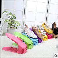 Wholesale Bottom Price PC High Quality Bilevel Foldable Shoe Rack Simple Plastic Adjustable Storage Shoe Shelf Colors