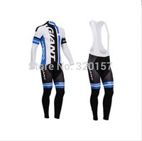 Wholesale 2014 giant men cycling Jersey suits in winter autumn with long sleeve bike jacket bib pants in cycling clothing bicycle