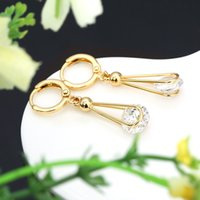 bijoux - New Arrival Luxury Brincos Bijoux Clear Crystal Rhinestone Drop Earring Lady Vintage K Gold Plated Earring for lady E066 J0002