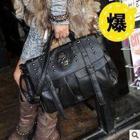Cheap 2013 New western style pu leather designer handbag,fashion punk skull rivet shoulder bags #220