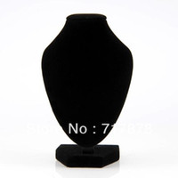 Wholesale 5Pieces Black Velvet Necklace Pendant Chain Link Jewelry Bust Neck Display Holder Stand