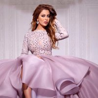 hot pink shirts - Hot Myriam Fares Long Sleeve Prom Dresses Arabic Lace With Crystal Ruffle Organza Ball Gowns High Low Party Dresses paolo sebastian