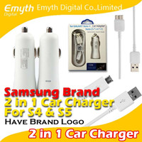 Wholesale Samsung Brand Car Charger Adapter Micro Usb Data Cable and USB in kit set with retail package For Samsung Galaxy S4 S5 Note Note