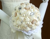 Wholesale XF04 Colors Sweet Home Deco Roses Hydrangeas Satin Rhinestone Pearls Wedding Bride Bouquet Artificial Flowers Ivory made in China