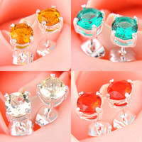Wholesale 10 Pairs Classic Gift For Mother Jewelry Round Colored Fire Quartz Citrine Gems Sterling Silver Plated USA Stud Wedding Earrings