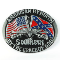 Wholesale American by Birth Southern Grace of God Western Belt Buckle Pride Rebel Flag USA