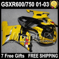 Wholesale Yellow black gifts Cowl For GSX R600 SUZUKI K1 GSXR750 G2A68 R750 R600 GSXR600 GSXR Fairings yellow
