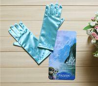 Wholesale full finger gloves frozen elsa gloves kids gloves costume Long Blue gloves snow Queen Elsa Cartoon Party Costumes children s gloves warmers