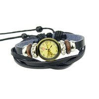 antique gold watches - Vintage Style Black Colour PU Leather Antique Gold Alloy Adjustable Watches Bracelets For Women And Man New Design