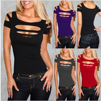 Wholesale 1pc High Quality Fashion Ladies Womans Sexy Ripped Slashed Black red Tight T Shirt Top Clubwear Cut out Tee Club Goth Punk Rave free shippin