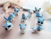 Wholesale New fashionable d blue cat cartoon Earphone Headphone anti Dust plug dust Cap for iphone s for mm plug mobile phone