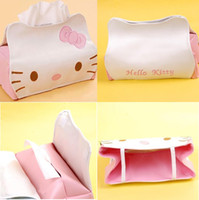 Wholesale HELLO KITTY Cartoon Removable Tissue Box Rectangular Artificial PU Leather Tray Carton Pumping Towel Sets Tissue Pumping Put In The Car