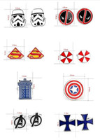 Wholesale 500pcs fashion designs star Wars Cufflinks Cuff Links Cartoon Captain America spiderman avengers Novelty Cufflinks Cuff Links D528