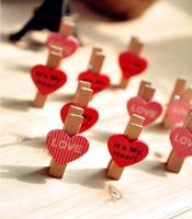 Wholesale love wooden korea stationery clip Mini photo clip with lovely heart