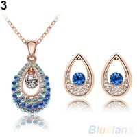 austria doll - Womens Fashion Austria Crystal Droplets Necklace Jewelry Set VI7