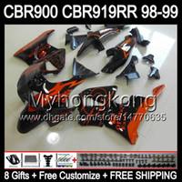 Wholesale 8Gifts For HONDA Orange CORONA CBR919RR CBR900 CBR919 RR Y6664 CBR900RR CBR RR Orange blk RR Fairing Customize