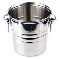 beer barrel bar - 2016 Top Grade Stainless Steel Cubes Barrel Ice Container Barrel Bucket Beer Wine Cooler Champagne x19cm Bar Home Using