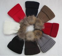 acrylic wool yarn - European autumn and winter ball models raccoon fur hat paternity really thick warm wool hat knitted hat winter General