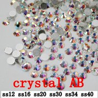 Wholesale crystal AB ss12 ss40mm mm crystal glass Rhinestone flatback rhinestones silver foiled