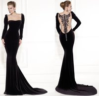 Scoop black velvet dress - 2015 Spring Tarik Ediz Long Sleeve Black Velvet Square Neck Crystals Celebrity Dresses Illusion Back Zipper Red Carpet Dress Evening Gowns