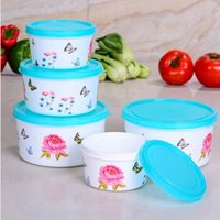 Wholesale sealing crisper plastic preservation box fresh bowls round food container saver storage set tableware F