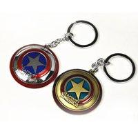 Wholesale Marvel Character Multi patterned Cartoon Key Rings BatMan SpiderMan CapitalAmerican Metal KeyRing Mask Shield Metal Key Chain Decoration
