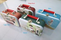 beautiful lunch boxes - 18 cm rectangle beautiful lunch box gift metal box with four artworks