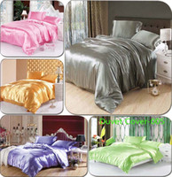 Wholesale Luxury Cozy pure satin silk Duvet Cover Quilt Cover bedding Home Textile Twin Full Queen King size Gold silver purple rosy red
