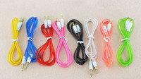 Wholesale High quality Transparent aux cable mm male to male for Mobilephone MP3 MP4 PC car home stereo or speakers
