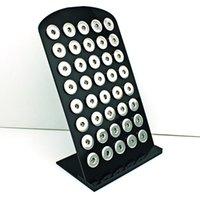 Venta al por mayor de pie bordo España-Mayor de la alta pantalla de cantidad de 18mm Soportes Moda Snap Botón Negro de acrílico de intercambio de joyería de metal Junta de visualización