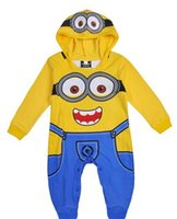 Cheap 2015 baby Minions rompers long sleeve hoodie romper infant despicable me rompers jumpsuit clothing Minions onesies cosplay cotton E063